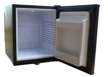 Homesun Black Mini Fridge With Lock With White Interior