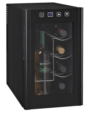 LED Super Chill Black Bottle Fridge With Glass Door
