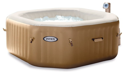 Octagon Shaped Spa Home Hot Tub Filled With Bubbles