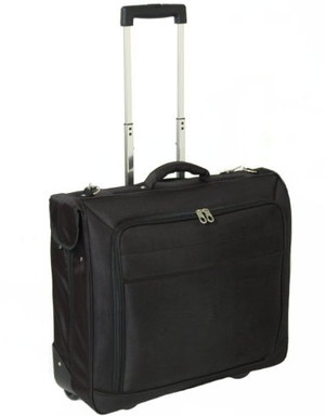 Wheeled Suit Garment Bag In Black Textile