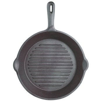 Kitchen Craft Clearview Cast Iron Rounded Grill Pan In All Black Finish