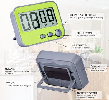 Folding Magnetic Loud Kitchen Timer With Yellow Face