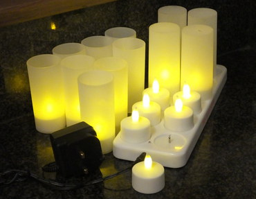Page 1 Design 12 LED Flicker Light Candles With Black Adapter