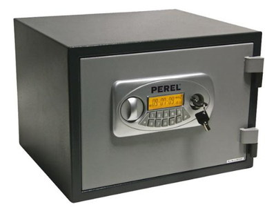 Perel Tools Fireproof Home Safe With Grey Key Pad On Front