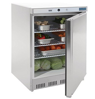 Polar CD080 LED Display Locking Fridge In Steel Finish