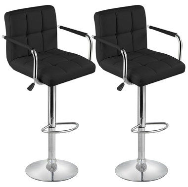 Plush x 2 Stainless Steel Bar Stools In Black Exterior