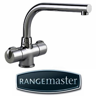 Rangemaster Brushed Kitchen Mixer Tap With Blue Logo