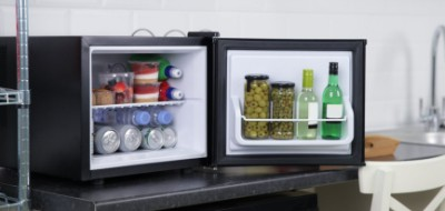 Small Black Counter Top Fridge With Cans Inside