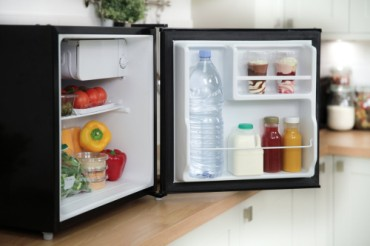 Small Black Fridge With White Interior