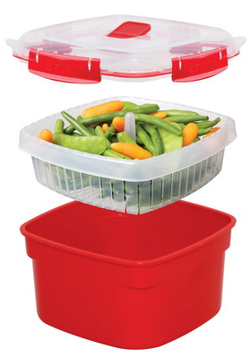 Microwave Vegetable Steamer 2.4L In Red
