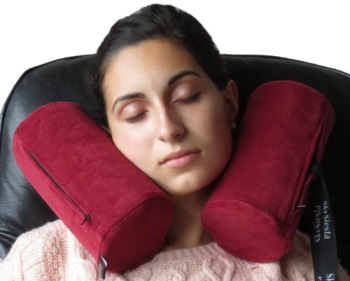 Neck Support Travel Pillow On Woman's Neck