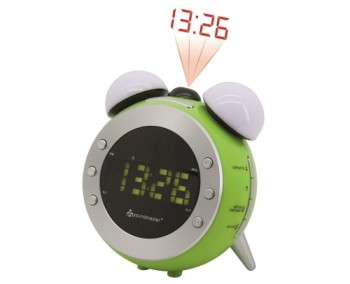 Soundmaster UR140LI Radio Clock Alarm Projector In Lime Green