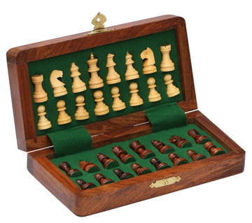 SouvNear Fold Magnetic Travel Chess Set In Dark Wood