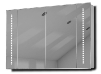Mirrored Bathroom Cabinet With White Background
