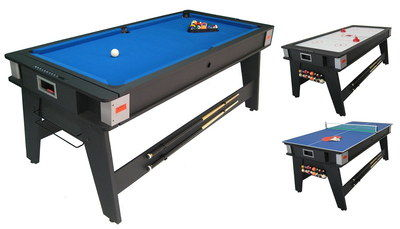 3 Multi Game Play Pool Table With Black Exterior