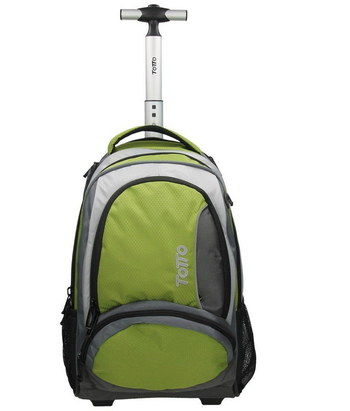 Totto Actinio 43 Litres Roller Laptop Bag In Black And Green