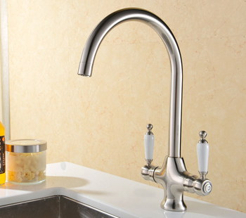 Vapsint Stainless Steel Kitchen Mixer Tap On White Base