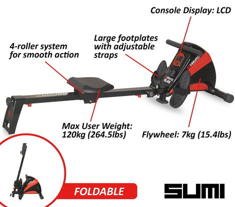 Rowing Machine In Black And Red Finish