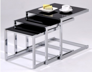 Viva Nest Of 3 Tables Black Glass With Plates