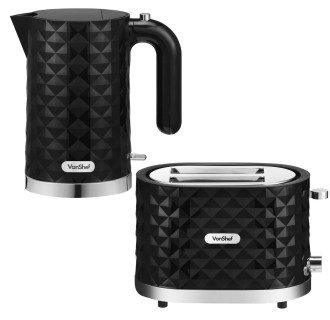 Kettle Toaster Set In Black And Chrome Finish