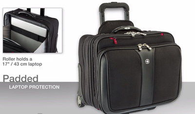 Wenger 17 Inch Laptop Briefcase With Wheels With Square Grip