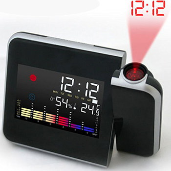 Winomo 180 Degrees Revolving Projection Clock In Black Case