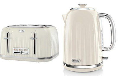 Cream Kettle And Toaster Set With Silver Accents