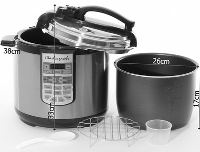 Large Fast Pressure Cooker With Black Handle
