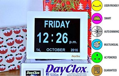 Large Day And Date Clock With White Frame