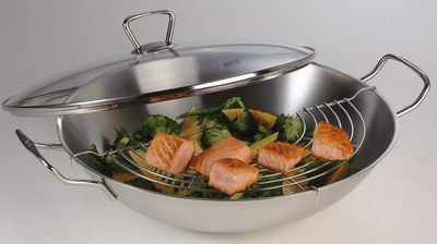 35cm Large Wok With Lid In Polished Steel