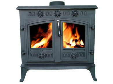 Cast Iron Log Fire Stove 2 Doors In Grey