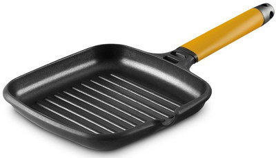 Black Induction Grill Pan With Orange Grip