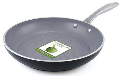 Green Ceramic Pancake Pan With Steel Grip