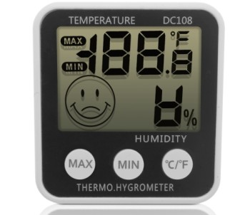 iGadgitz Xtra LCD Temperature Humidity RH Meter In Grey With Smiley