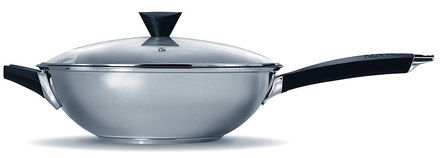 Non-Stick Flat Bottom Induction Wok With Glass Cover