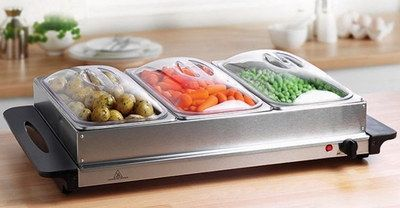2.36L Electric Buffet Food Warmer With Black Handles