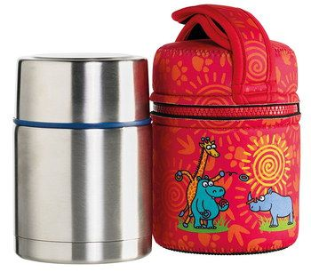 Vacuum Insulated Hot Food Flask In Red
