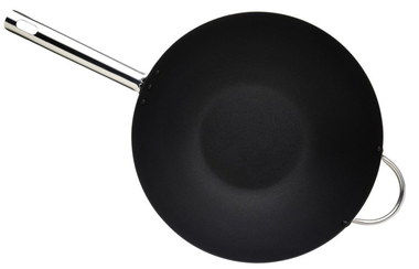 Carbon Steel Induction Wok Pan With Black Interior