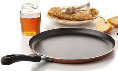 Anodised Steel Large Pancake Pan On Table