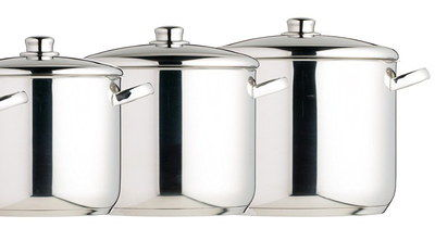 Encapsulated Stainless Steel Stock Pots In A Row