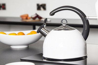 2.5 Litres Whistling White Kettle With Black Handle