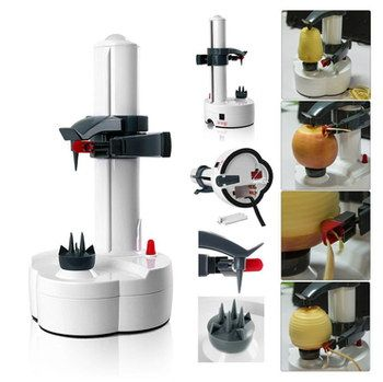 Small Electric Vegetable Peeler Machine With White Base