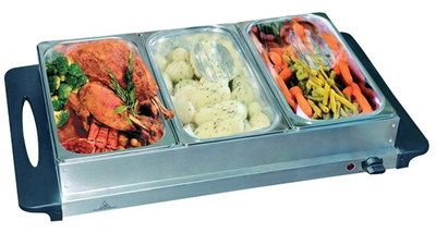 Big Countertop Food Warmer With 3 Tray Pots