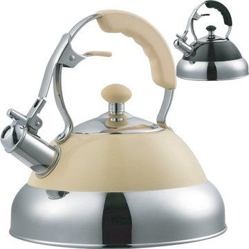 Steel Whistling Hot Water Kettle With Cream Exterior