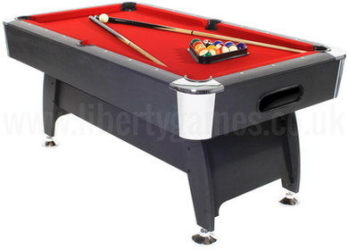 Solid 6 Foot Black Pool Table With Red Cloth