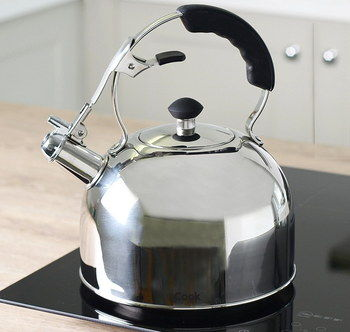 Sturdy Polished Stainless Steel Kettle On Black Hob