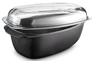 Die-Cast Metal Roasting Tin With Clear Glass Cover