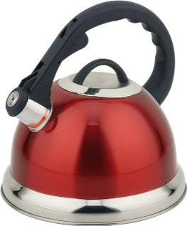 3.5L Retro Stainless Steel Whistling Kettle In Red