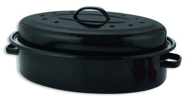 36 cm Enamel Roasting Tin With Lid With 3 Handles