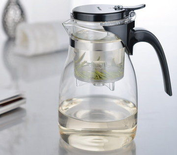 Filter Glass Teapot With Infuser And Black Handle